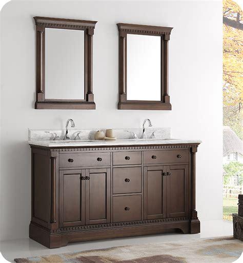 fresca fvnac kingston  antique coffee double sink traditional bathroom vanity  mirrors