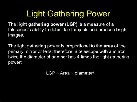 Light Gathering Power light gathering power