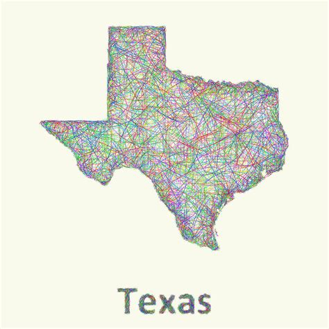texas map drawing texas line map drawing by david zydd
