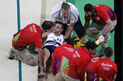 french gymnast suffers horrific leg injury after vault rio 2016 olympics leg break french gymnast samir ait said