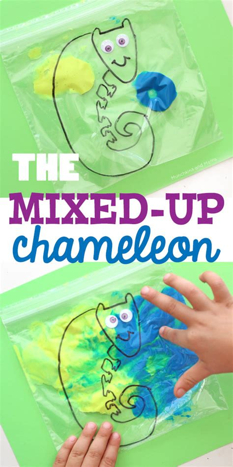 the mixed up chameleon paint mixing activity munchkins and
