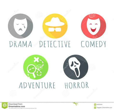 fantasy film genre elements drama detective comedy adventure horror film logo stock