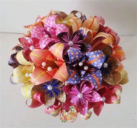 Origami Bouquet - paper flower origami bridal bouquet statement roses
