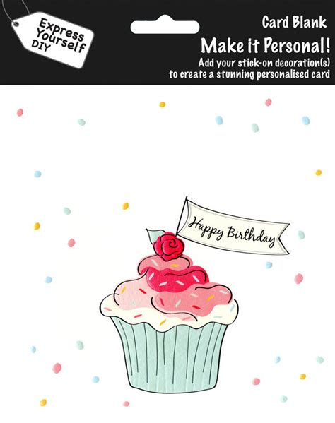 make a personalised card make it personal blank card cupcake happy birthday