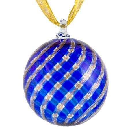 blue and aventurina murano glass christmas ornament