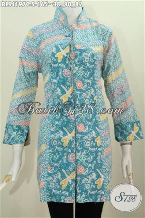 Keynara Top Pakaian Wanita Pakaian Modis Batik batik dua motif dengan kancing satu model baju batik modern 2018