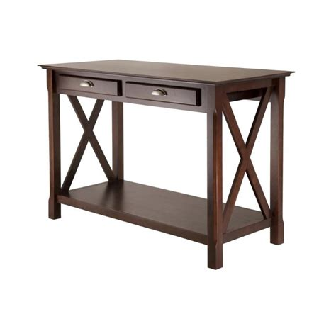 xola console table with drawers cappuccino winsome wood xola console table with 2 drawers in