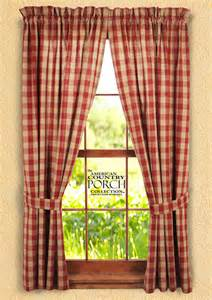 The Country Porch Curtains Wine Teadyed Buffalo Check Tieback Curtain Panels