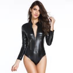 women s punk faux leather zipper slim romper 114858