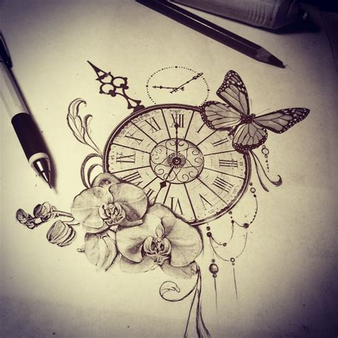 tattoo ideas about time tattoo sketch watch butterfly orchid time tattoo ideas