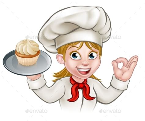 Mini Cup Cook Kartoon pastry chef baker with cupcake by krisdog