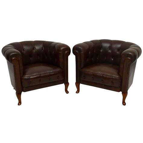 Antique Leather Armchairs For Sale by Pair Of Antique Swedish Leather Armchairs For Sale At 1stdibs