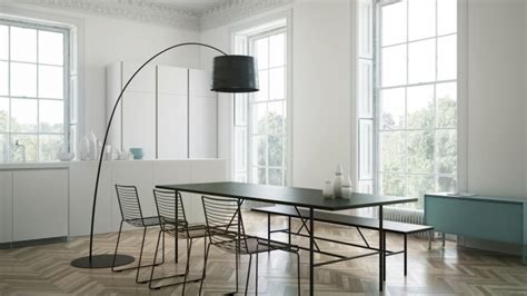 Dining Room Arc Floor L Minimal Dining With Arc Floor L In Black