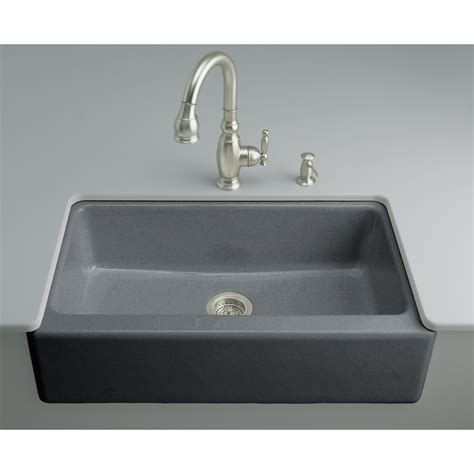 Enameled Cast Iron Kitchen Sinks Shop Kohler Cape Dory Single Basin Undermount Enameled Cast Iron Kitchen Sink At Lowes