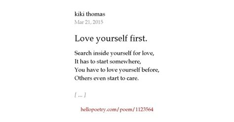 Love yourself first. by kiki thomas - Hello Poetry Loving Words For Husband