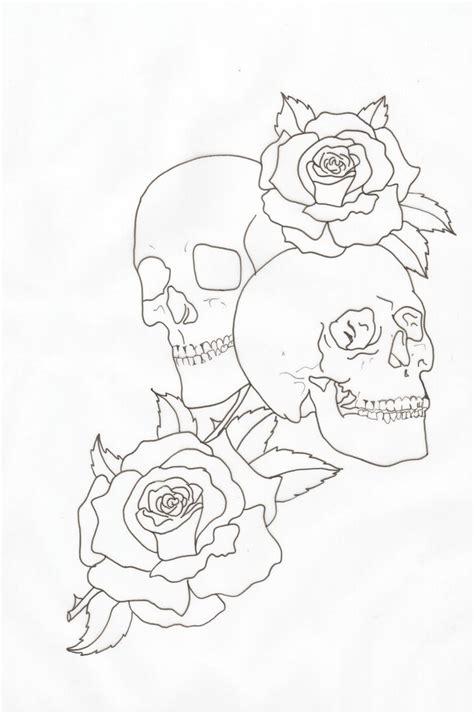 skull tattoo outline designs skulls and roses outline by lou987 on deviantart