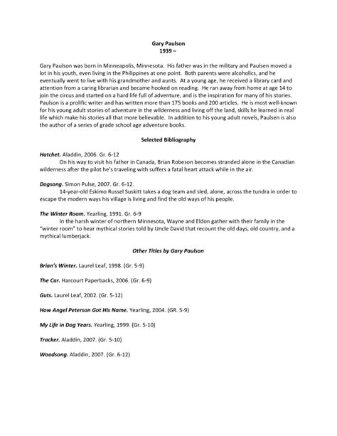 bibliography format for biography gary paulson bio bibliography and book talk