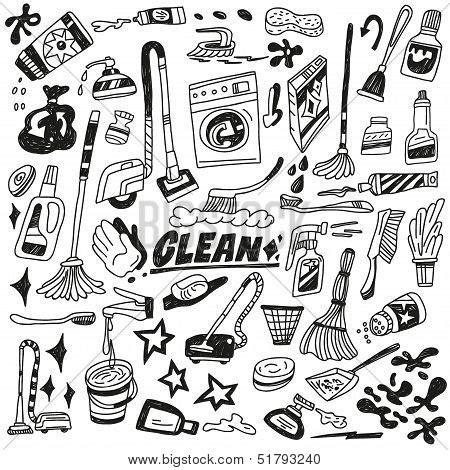 doodle create tools cleaning tools doodles vector photo bigstock