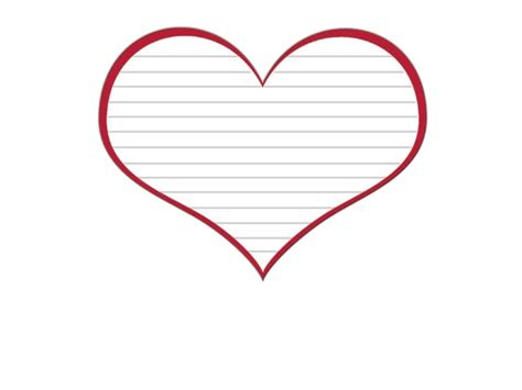 free heart template with lines and red border