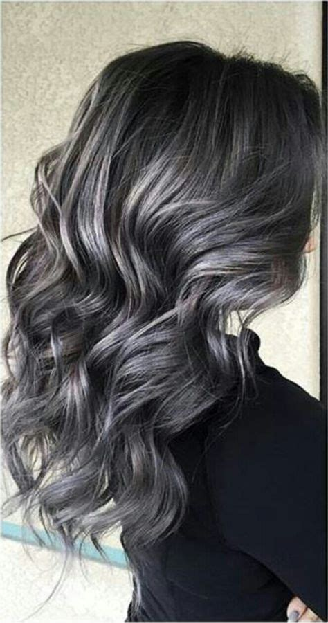 pictures of silver highlights soft smokey silver grey highlights on dark hair hair