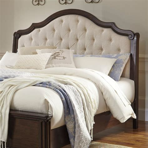 white upholstered headboard queen ashley moluxy queen upholstered sleigh headboard in off