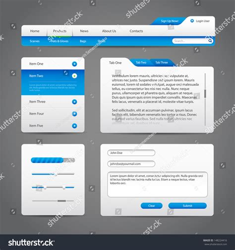 web ui layout web ui controls elements gray blue stock vector 148224416