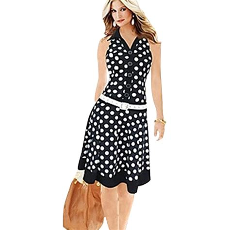Dress Casual Lengan Pendek Fashion s new fashion print dot dress without american country style high casual wear