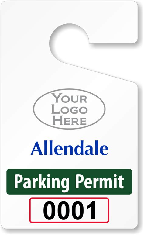 Custom Parking Tag Designs 5 X 3 Parking Placard Template