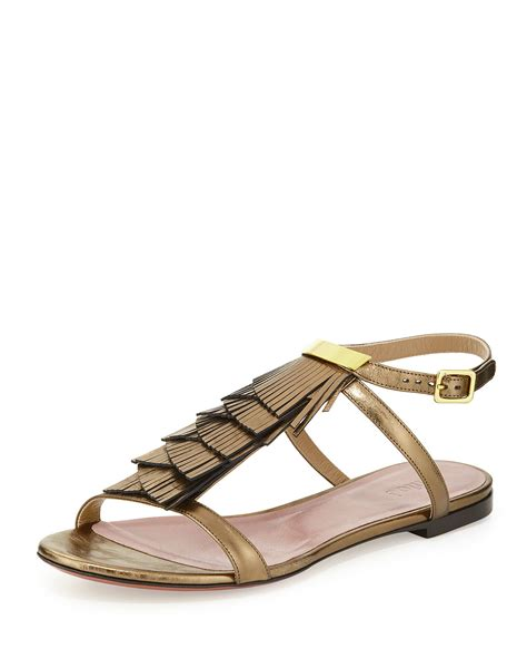 ankle wrap sandal chlo 233 fringe leather ankle wrap sandal in metallic lyst