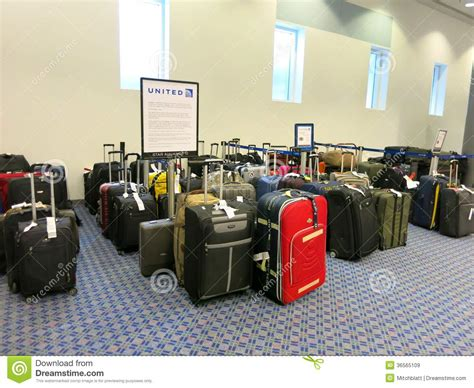 baggage laid out at airline luggage counter after flight lost bags at united airlines luggage counter editorial