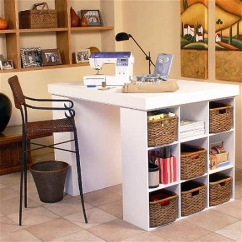 white project center table for crafters and artists home