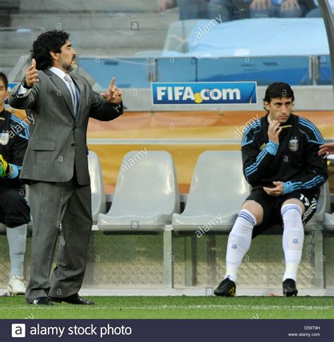argentina s coach diego armando maradona l and player