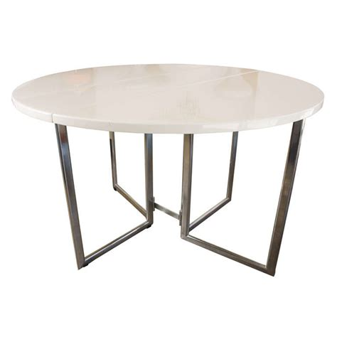 italian drop leaf dining kitchen table in chrome laquer