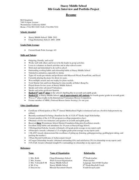 Resume 7th Grade by Middle School Student Resume Exle Stacey Middle