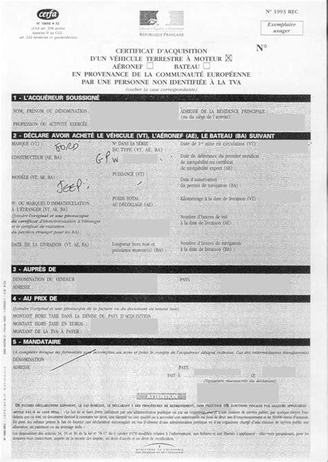 Remplir demande de certificat d'immatriculation avec