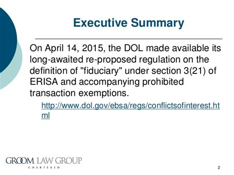 erisa section 3 14 dol s fiduciary definition re proposal