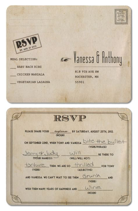 Mad Libs Rsvp Card Template by Mad Lib Wedding Rsvp Mn Wedding