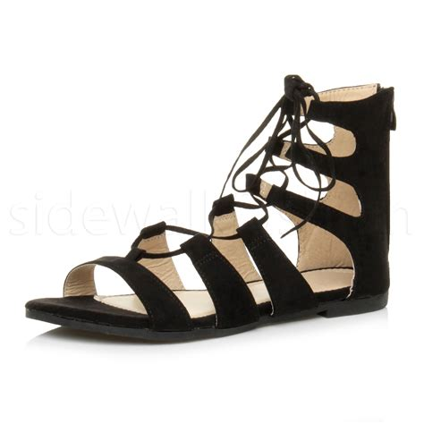 ankle lace up sandals womens flat lace up strappy ankle tie gladiator
