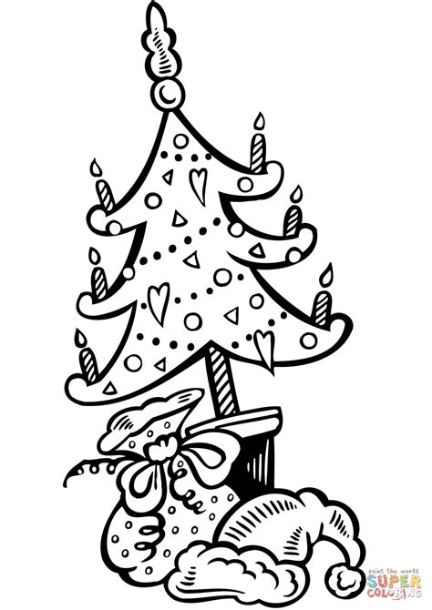 Christmas Tree And The Gifts Coloring Online Tree With Gifts Coloring Page