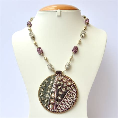 Handmade Bead Necklace - handmade necklace studded with white purple rhinestone