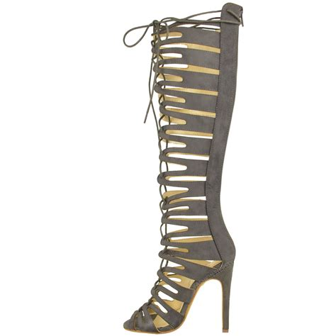 womens lace up knee high heel cut out gladiator