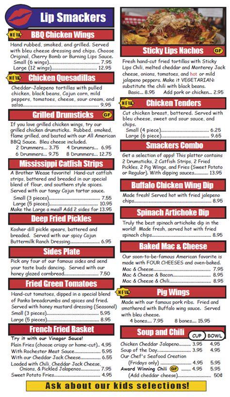 menu design rochester ny bbq restaurant rochester ny menu sticky lips pit bbq