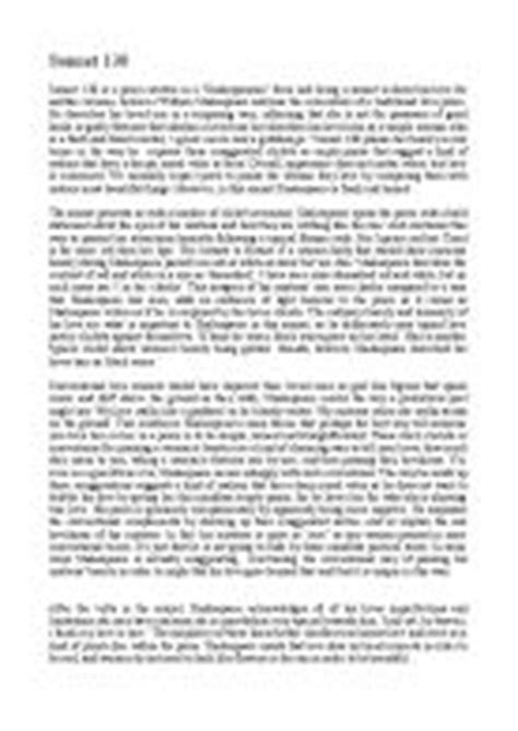 Sonnet 130 Analysis Essay by Sonnet 130 Essay Essay Ethics