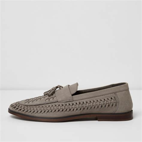 grey loafers for river island grey woven leather loafers in gray for lyst