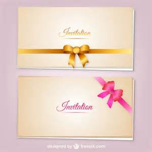 invitation cards with ribbons vector vector free