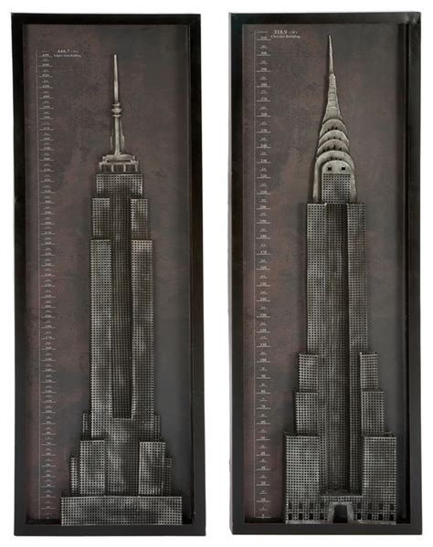 new york city home decor new york city chrysler empire state building metal wall