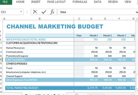 Sle Marketing Budget Spreadsheet by Channel Marketing Budget Template For Excel