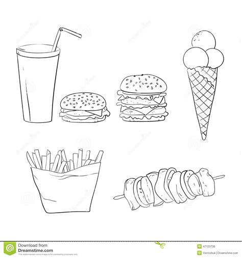 coq a doodle do food truck menu diner food doodles vector illustration set vector