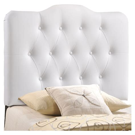 white button headboard annabel twin leatherette headboard button tufted white