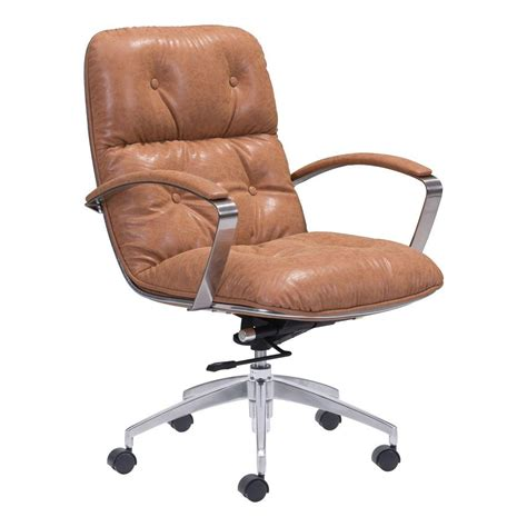 zuo avenue vintage coffee leatherette office chair 100446